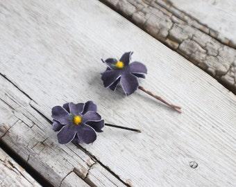 Bridal Hair Pins, Wedding Hairpins, purple flower Hair Pins, flower Bobby Pins, Hair Pins - Set of 2 , fairy dress up, flower hair pins
