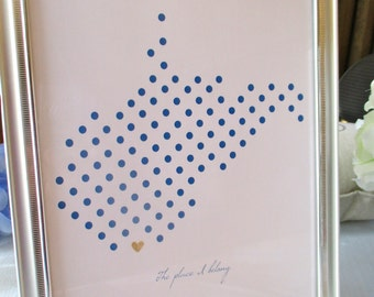 West Virginia Dots 8x10 print