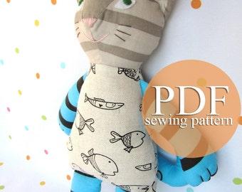 Cat doll sewing pattern PDF. Stuffed toy cat sewing pattern & tutorial. Make your own cat doll. DIY plush cat. Cat cloth doll. Rag doll cat