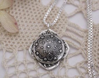 Silver Mehndi Domed Mandala Necklace