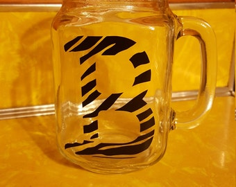 Zebra Print Letter Mason Jar