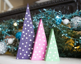 Bright Polka Dot Triangle Tree Mountain Repurposed Pallet Colorful Holiday Decor Mantel Christmas Decoration Pink Purple Lime