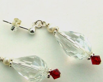 Bridal Quartz Teardrop and Silver Earrings with Red Swarovski