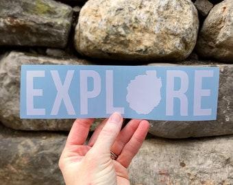 EXPLORE with Adirondack Park Silhouette / Adventure Decal / Hiking Decal / Camping Decal / Adirondack Decal / ADKS / ADK  / Explore Sticker