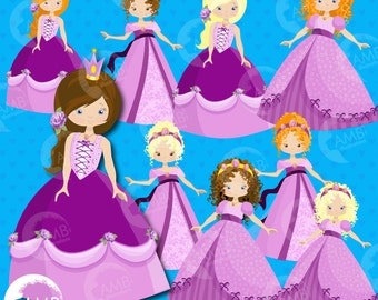 Princess clipart, Princess clipart, Purple princess clip art, Fairy princess, commercial use, vector graphics, AMB-991
