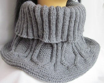 Hand-knitted Grey Scarf / Neck Warmer / Wrap / Cowl / Ear Flap Helmet/ Hat with Beautiful Ornament