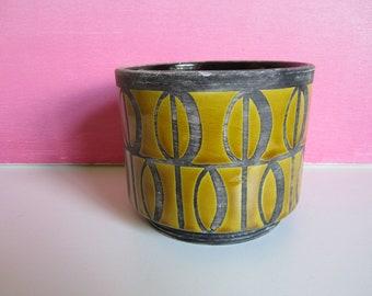 Rare Black and Ochre Raymor Italian Pottery Vessel Mid Century