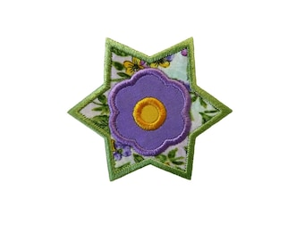"Star Flower Applique Machine Embroidery Design Pattern in 3 sizes 4"", 5"" and 6"""