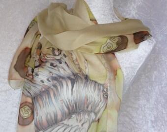 lionfish painted silk chiffon scarf