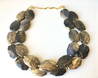 Black & Gold Necklace, Double strand gold jewelry, big beaded chunky statement necklace, black necklace, gold jewelry, gold necklace