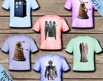 6 Doctor Who Iron on Tshirt Images! Digital Download! Printable Screen printed images!