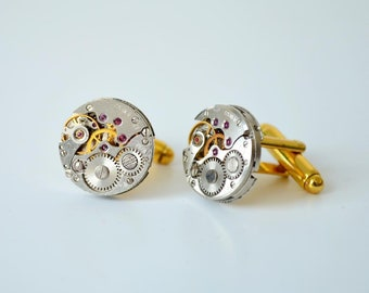 Rare Round cufflinks, Cuff Steampunk, Groomsmen cufflinks, Best Man jewellery, Clockwork cufflinks, Best Man Gift, Ideas Gift for men, Gold
