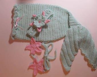 Ready to Ship Crochet Baby Girls (0-3 mo) Mermaid Tail, Starfish Headband and Top Set, Infant Photo Prop Costume, Infant Mermaid Costume