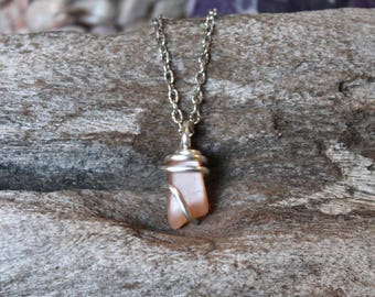 Peach Moonstone Necklace - Wire Wrapped Stone Jewelry - Gemstone Necklace - Bohemian Necklace - Gypsy Jewelry Boho Jewelry - Wiccan Necklace