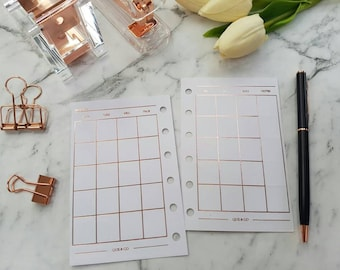 Pocket (PM) Small Rose Gold foil Monthly (MO2P) planner inserts paper | Planner refills for Kikki k, Filofax, Louis Vuitton PM agenda