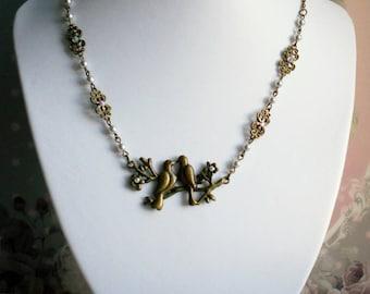 Brass beads necklace rhinestone Swarovski Peace doves and Pearl