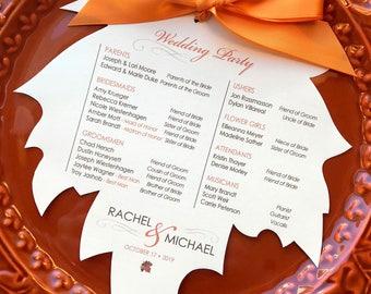 Falling in Love, Fall Wedding Ceremony Program, Autumn Ceremony Program, Leaf Program, Rustic Wedding Program, Wedding Order of Service