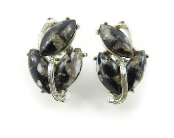 Vintage Black, Lucite Earrings, Gold Tone Fleck, Silver Tone, Clip Ons, STJ117