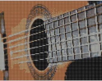 Guitar Strings Cross Stitch Pattern