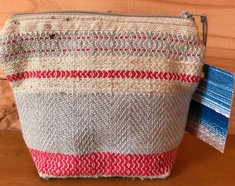 Hand woven fabric Zip pouch