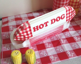 Hot dog Red White Check gingham paper holders trays BBQ cookouts summer party