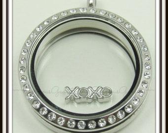 XOXO Hugs & Kisses Floating Charm for Glass locket / Floating Locket /Memory Locket