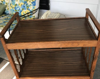 Mid Century Bar Cart w/ Casters