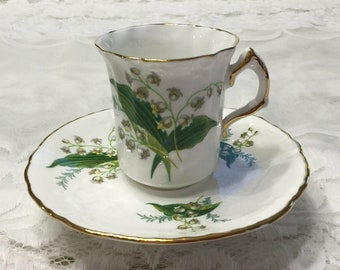 Hammersley Lily of the Valley Demitasse Cup and Saucer