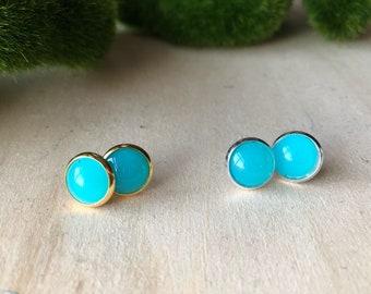 Turquoise stud earrings, gold stud earrings, button earrings, blue stud earrings, boho jewelry