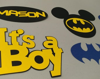 Customized and Personalized Batman and Mickey Mouse Centerpiece for Birthdays, Baby Showers, Batman and Mickey Themed Parties