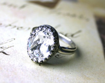 The Victorian Jewelled Ring in Diamond- Vintage Style Swarovski Crystal Adjustable Ring in Crystal Clear