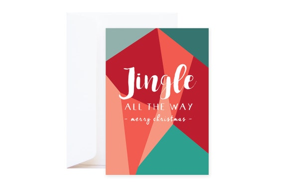 Jingle All The Way Christmas Card (including envelope) // graphic wishing card with vibrant red  & green colours // Santa Holiday greetings