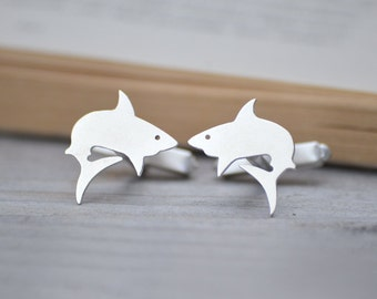 Shark Cuff Links In Sterling Silver, Animal Cuff Links, Handmade In The UK