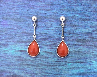 Red Coral Earring, 14KT White Gold Tear Drop Red Coral Post Earring, E5496 Hawaii Jewelry