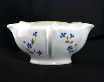 Antique French Porcelain Gravy Saucer that separates fat from lean (Saucière gras et maigre in French), early 20th century.