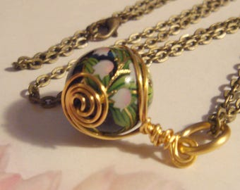 "My#158T- A Pink Floral on Japanese Tensha Bead! w/Spiral Wraps! w/24"" Chain!  Size: 16mm..Nice Gift!"