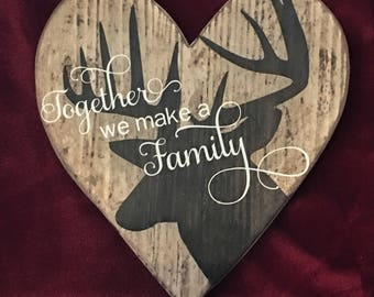 Rustic Family Sign, heart shape