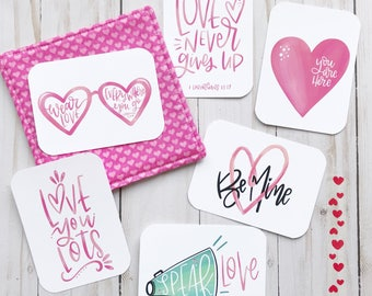 Love Themed - Hand Lettered Mini Encouragement Cards, Bible Journaling, Planner Card, Gift Tags, Journal, Valentine's Day, Be Mine, Hearts,