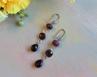 Earrings with tourmalines and garnets, silver-plated