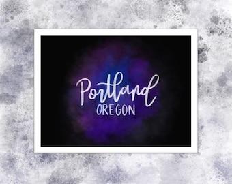 Portland Oregon Postcard Wall Art Digital Print