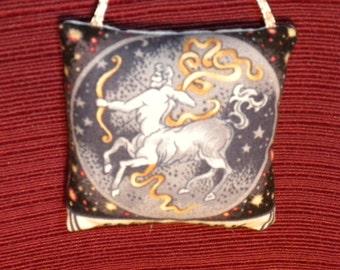 Zodiac Sagittarius Light Blue Fabric Astrology Astrological Pillow Hanger Ornament
