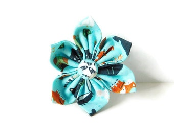 Blue wild animal dog flower / blue animal print collar flower / fox bow / wild animal dog bow tie / cat bow