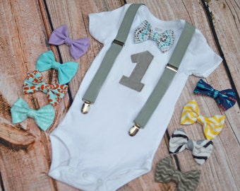 Boys Birthday Bow Tie Outfit - 1st 2nd 3rd 4th 5th Birthday Bodysuit or Shirt - Bow Tie and Suspenders - Personalization Available