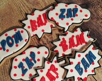 Comic Superhero Pow Bam Zap Sugar Custom Cookies