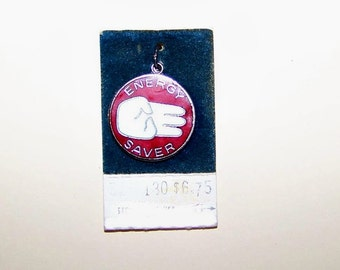 Vintage ENERGY SAVER ECO   Sterling Silver  and Enamel Charm --Griffith--On Original Store Card