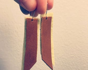 Felt and leather dangle earrings