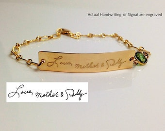 Handwriting Bracelet  Actual custom gold  Signature Bracelet Personalized engraved bracelet birthstone charm Memorial handwritten jewelry