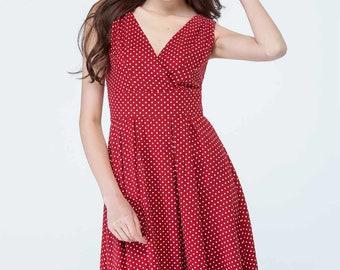 red polka dot dress, sleeveless dress, linen dress, fitted dress, high waist dress, summer dress, beach dress, cute dress, v neck dress 1706