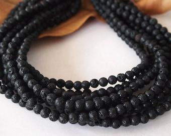 Strand Round Lava Beads Prayer Beads Colour Black Size 6mm Quantity 64 Beads