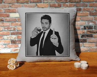 James Franco Pillow Cushion - 16x16in - Grey